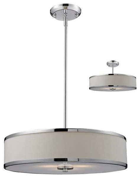three light chrome white shade drum shade pendant