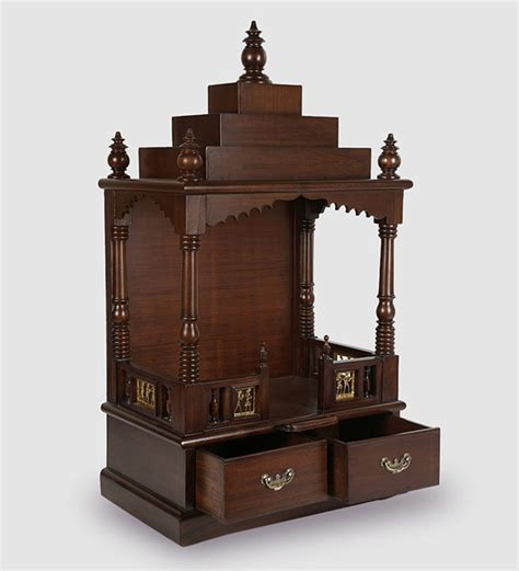 buy solid wood hand  pooja mandir  walnut finish