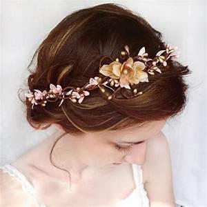 Wedding Hair Accessories Pink Flower Hair Circlet Gold