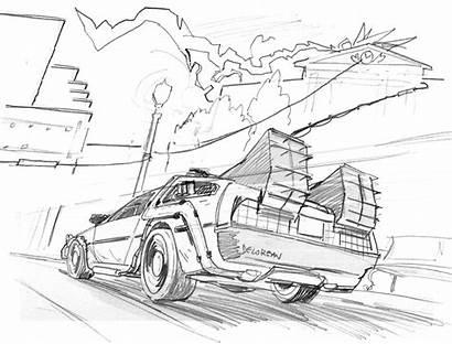 Future Coloring Delorean Sketch Drawing Derek Drawings