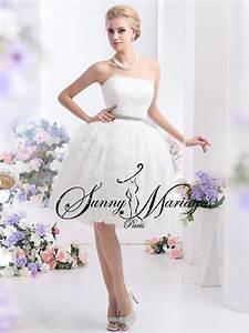 Robe Mariée Courte Pas Cher : robe de mariee bustier courte dentelle sunny mariage ~ Mglfilm.com Idées de Décoration
