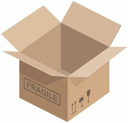Carton Open Clip Clipart Box Cardboard Transparent