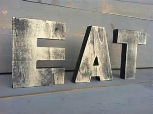 Eat sign tea sign kitchen sign wood sign 3 wood letters 2 for Red eat letters for kitchen