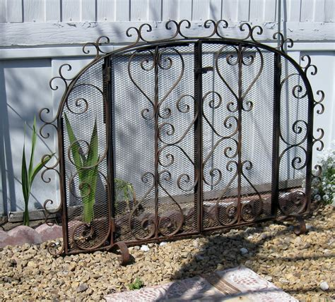 vintage hand wrought iron fireplace screen