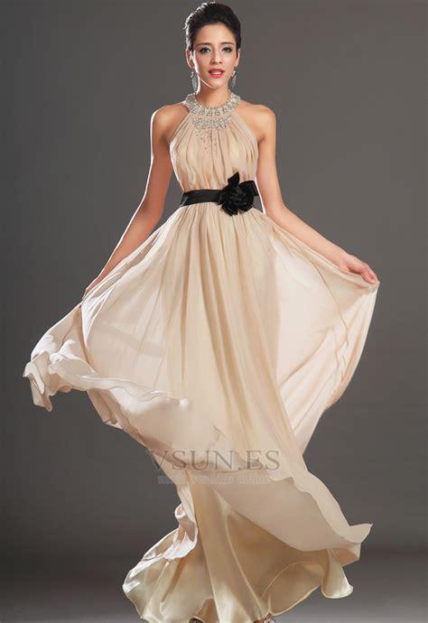 vestido de noche gasa  elegante natural verano escote