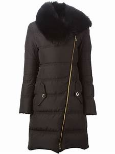 Lyst Versace Fox Fur Collar Padded Coat In Black