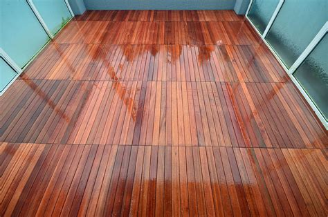Floor Awesome Dark Wood Deck Tiles With Glasses And Gray