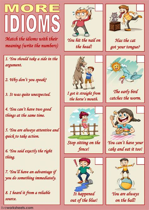 idioms interactive  downloadable worksheet check