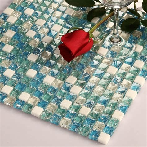Blue Crackle Glass Bathroom Accessories by Smal Square Ice Crackle Blue Glass Mixed White Stone