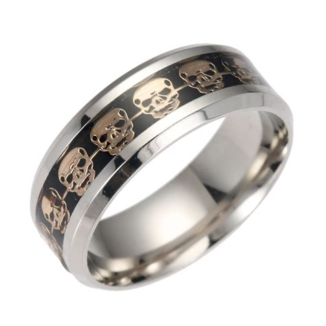 316l stainless steel mens womens inlay skull design