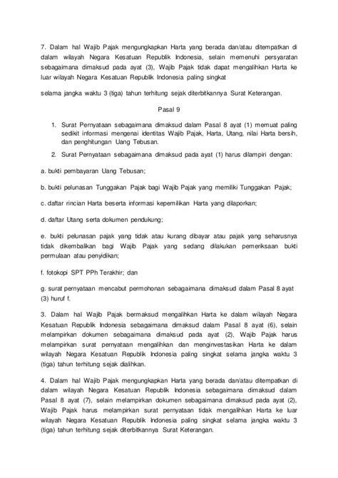 Surat Pernyataan Harta Untuk Pengampunan Pajak - Bagi