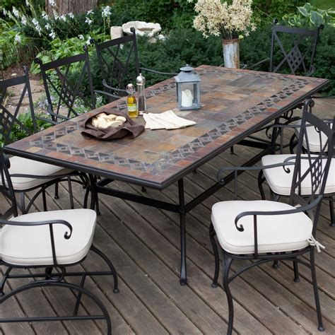 Belham Living Lucca 84 X 42 In Mosaic Patio Dining Table