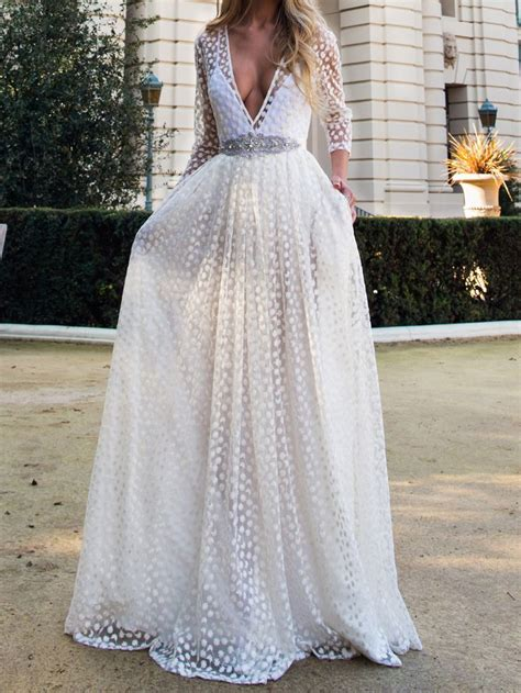 white plunge neck sheer embroidery  sleeve prom dress
