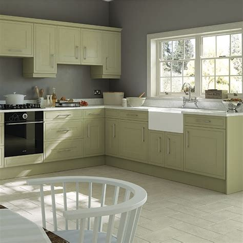 traditional style kitchen  olive cabinetry green