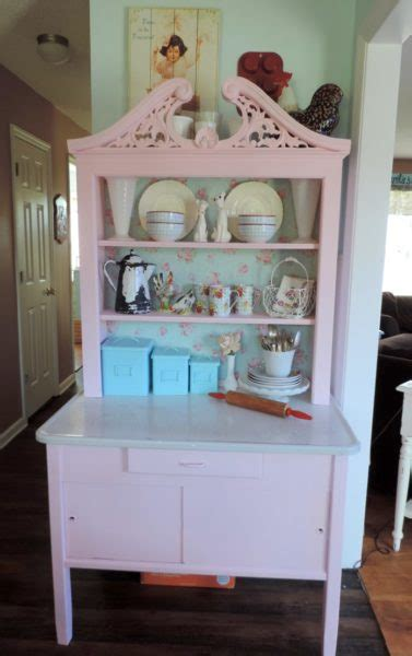 pink shabby chic vintage hoosier table makeover