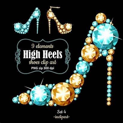 Heel Diamond Clipart Shoes Pink Clip Rhinestone