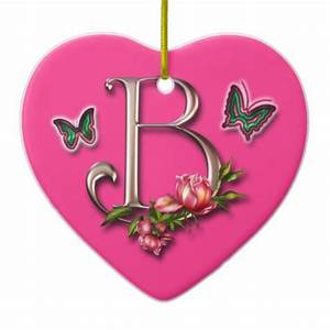 MONOGRAM LETTER B - HEART ORNAMENT | Zazzle