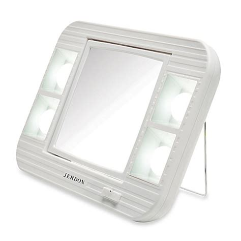 lighted makeup mirror bed bath and beyond jerdon 5x 1x led lighted makeup mirror in white bed bath