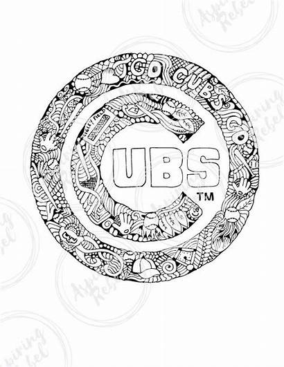 Coloring Pages Cubs Chicago Drawing Baseball Sheets