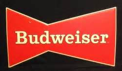 Budweiser Classic Bowtie Beer Bar Tin Tacker Sign