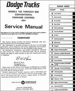 1967 Dodge Truck Shop Manual 67 Pickup Power Wagon Panel