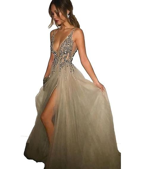 Amazon.com: 2017 Sexy Gray Prom Dresses With Deep V Neck ...
