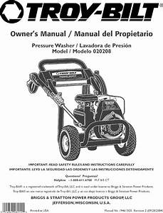 Troybilt 020208 User Manual Pressure Washer Manuals And