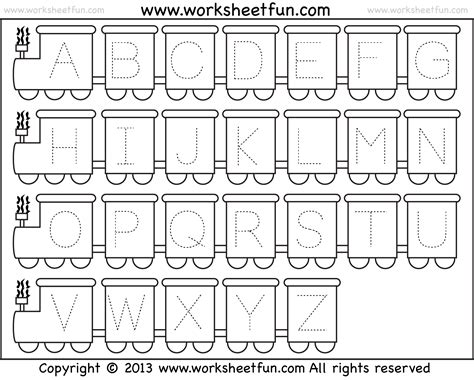 letter tracing worksheet theme free printable 350 | Tracing capital letters train 1