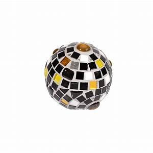 Deko Schwarz Weiß : mosaik deko kugel 9 cm schwarz wei gelb wetterfest und dekorativ ~ Orissabook.com Haus und Dekorationen