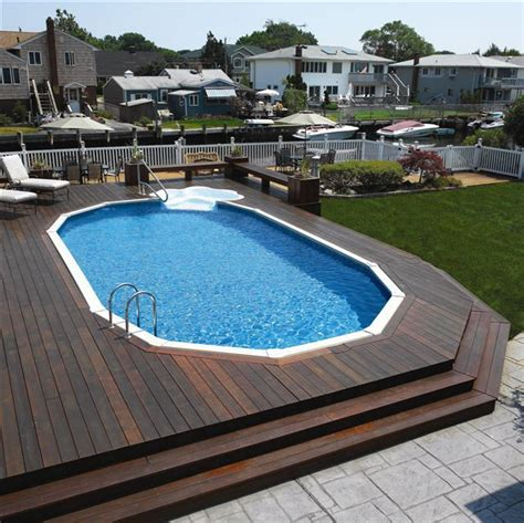 ground pools decks idea semi  ground pools