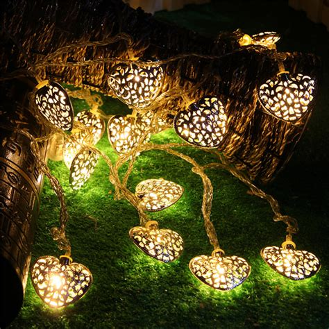 battery operated tree lights 20led 2 5m golden heart shaped christmas tree light bulb
