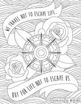 Coloring Adult Travel Inspirational Pdf Escape Trip Sheets Dollhouse Quote Printable Quotes Traveling Easy Adults Mandala Favecrafts Printables Positive Road sketch template