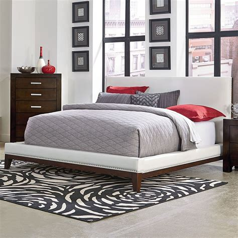 couture upholstered platform bed white standard