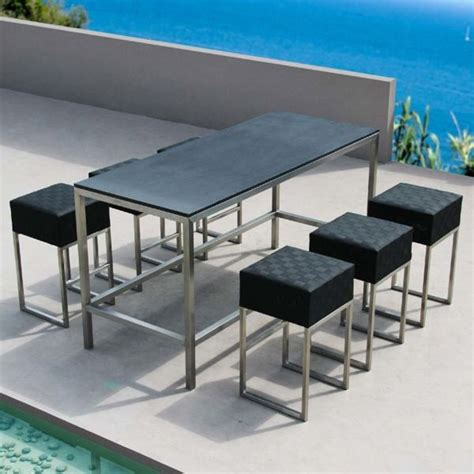 bar height patio table and stools outdoor pub and bistro