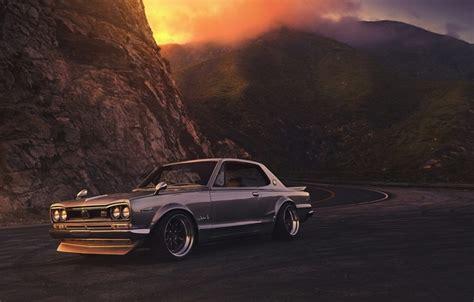 wallpaper nissan gtx car  front sunset skyline