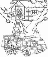 Lego Coloring Printable Clipart Fire Tree Colouring Rescue Fireman Drawing Vehicles Sheets Sheet Police Truck Emergence Station Boys Legoland Vehicle sketch template