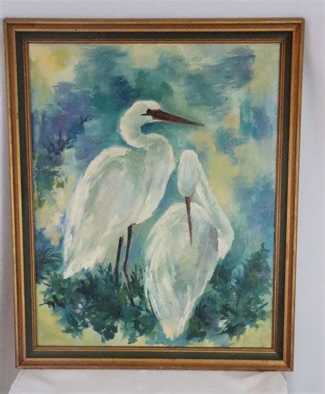 Large Vintage Oil Painting Of Cranes Signed By By