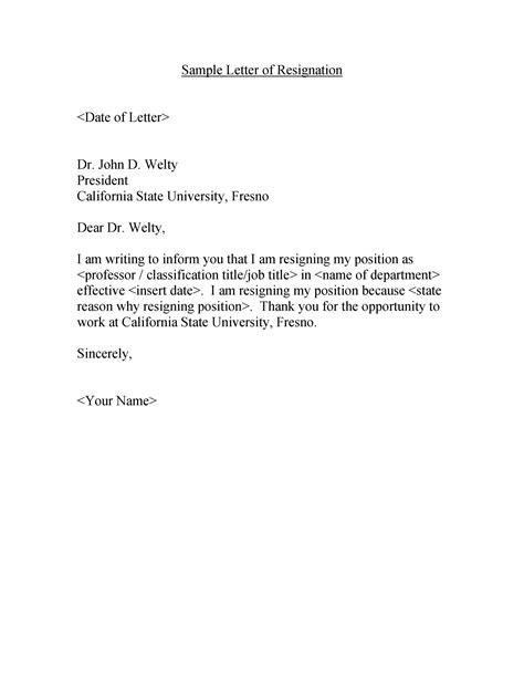 Simple Resignation Letter Templates ~ Addictionary