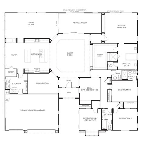 1 Story Open Floor Plans by Home Designs Single Story Floor Plans One Story