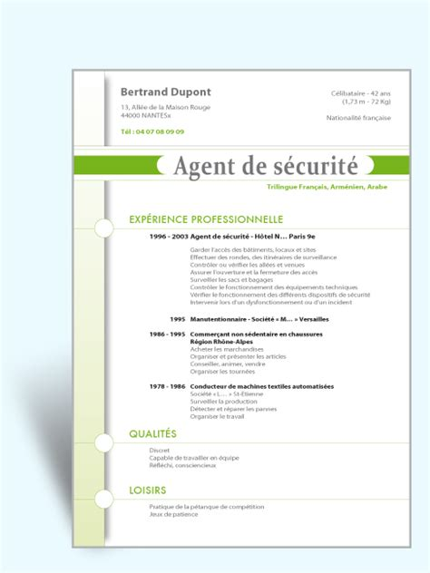 Cv Exemplaires by Mod 232 Le Cv M 233 Tier S 233 Curit 233 Exemple Cv Original