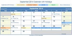 Print Friendly September 2014 Us Calendar For Printing