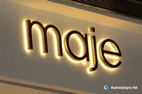 3d Led Backlit Signs With Mirror Polished Gold Plated