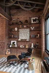 sublime salon inspiration style industriel murs en brique With marvelous photos de meubles de salon 13 bureau www style deco industriel fr