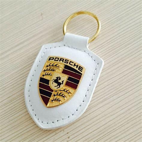 white porsche logo key chain leather key ring gold crest