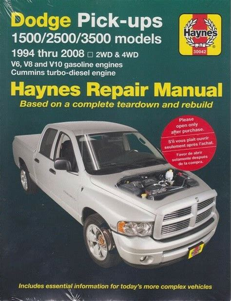 online car repair manuals free 1994 dodge ram 3500 lane departure warning 1994 2001 dodge ram 2 4wd v6 v8 10 diesel repair manual 2000 1999 1998 1997 4293 1563924293 ebay