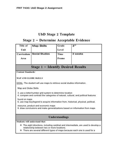 understanding by design template ubd stage 2