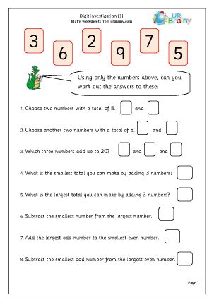 digit investigation reasoning problem solving maths