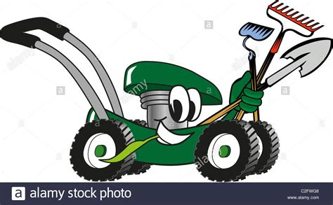 Cartoon Lawn Mower Holding Lawn Maintenance Tools Stock