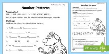 number patterns worksheet year