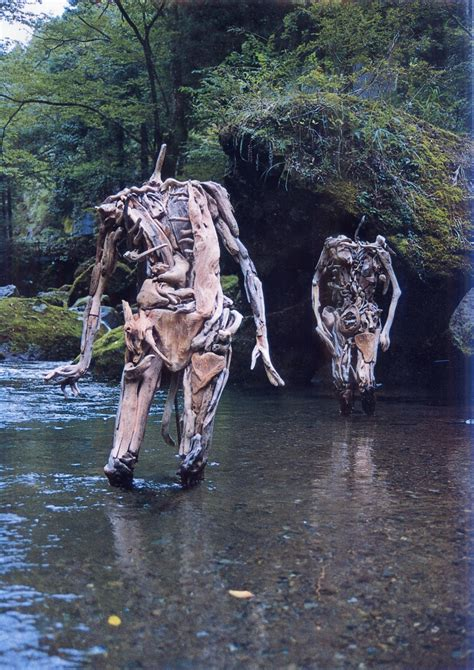 haunting driftwood sculptures  japanese artist nagato